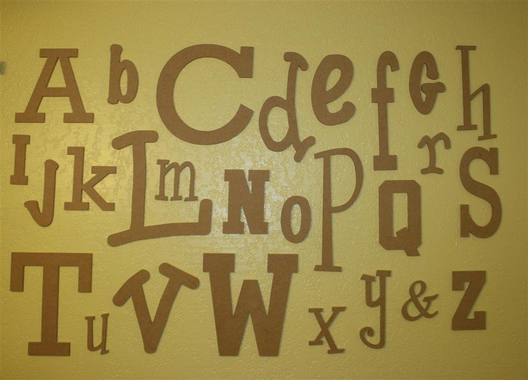 Amazon.com : Unfinished Wooden Alphabet Letter Set - Wide : Nursery ...
