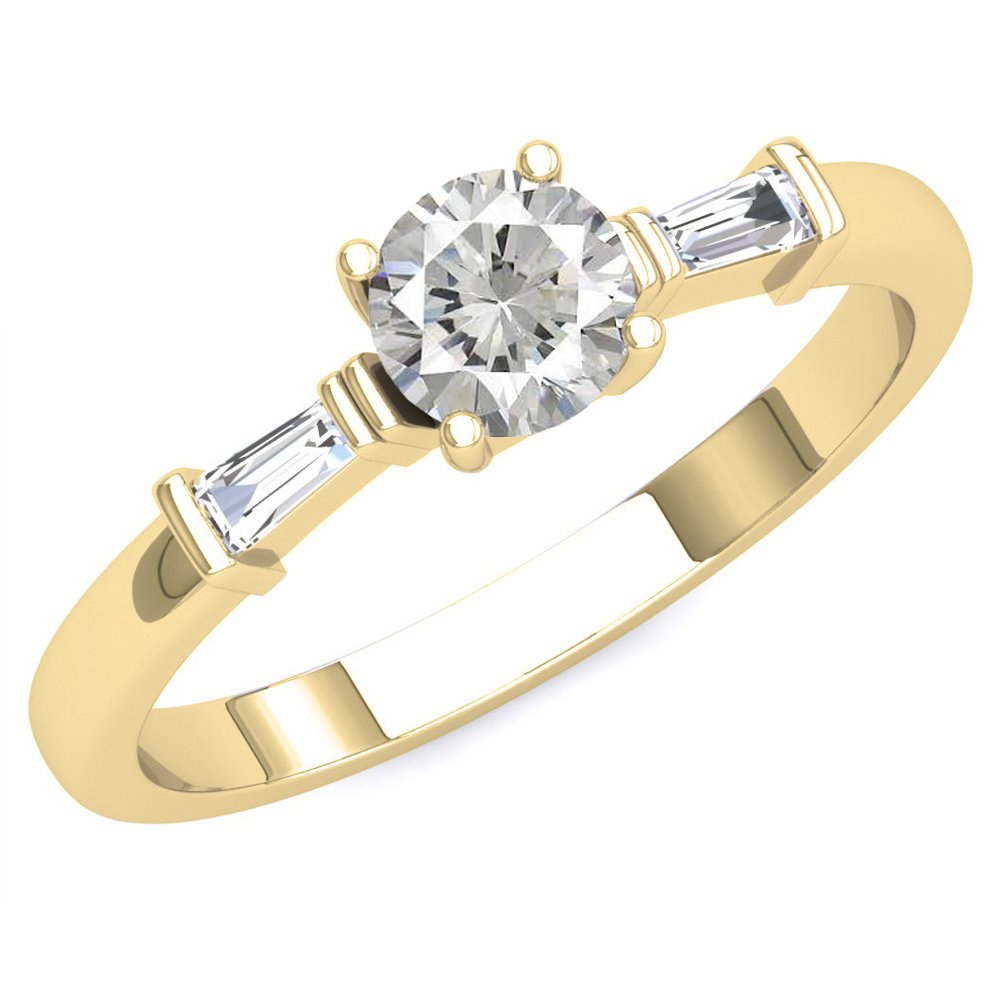 Dazzlingrock Collection 14K Round Cubic Zirconia & Tapered Cut White Diamond Ladies Engagement Ring, Yellow Gold, Size 7 by Dazzlingrock Collection
