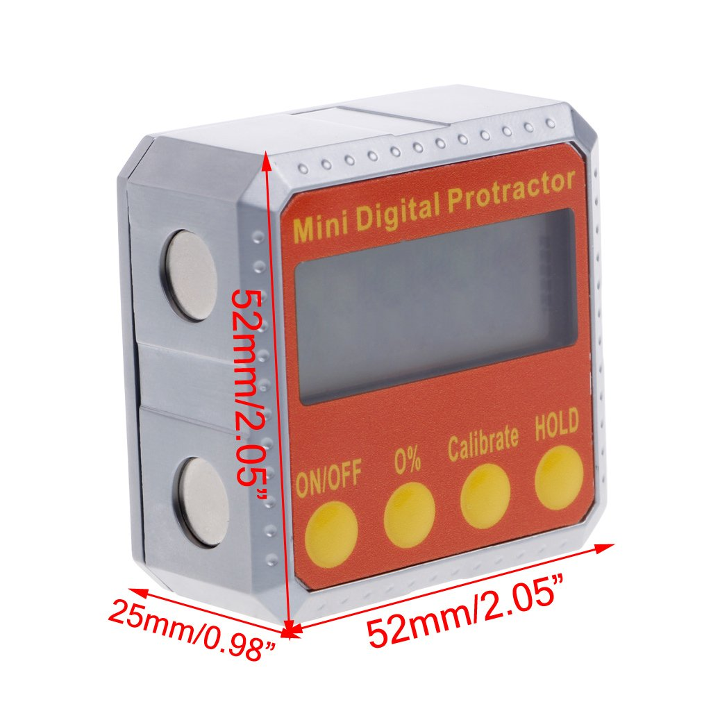 YUNAWU 0~90° x 4 quadrants Digital Protractor Inclinometer Electronic Level Box Magnetic Angle Gauge