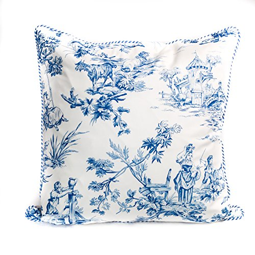 - designer pillow cover, blue and white toile
