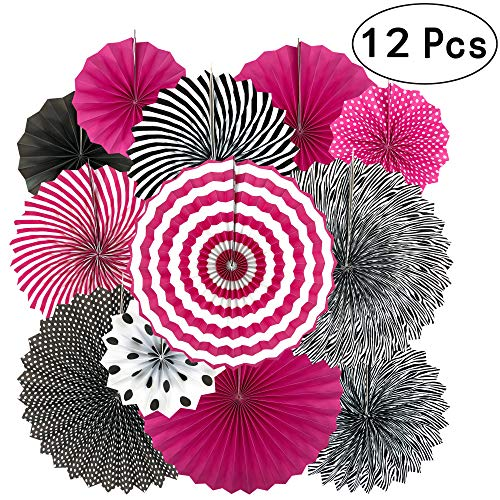 Bachelorette Party Hanging Paper Fans Decorations - Girls Women Birthday Party Wedding Bridal Shower Carnival Party Ceiling Hangings Photo Booth Backdrops Decorations, 12pc ()