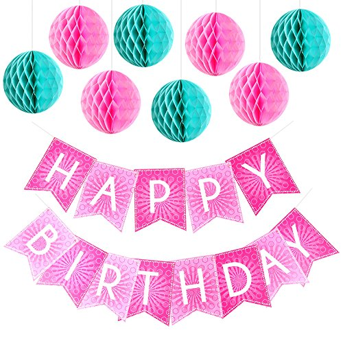 Enfy Pink Happy Birthday Bunting Banner with Flat
