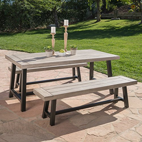 Great Deal Furniture Cassie | Acasia Wood Outdoor Picnic Table and Benches | Perfect for Dining | with Iron Frame | in Light Grey Sandblast