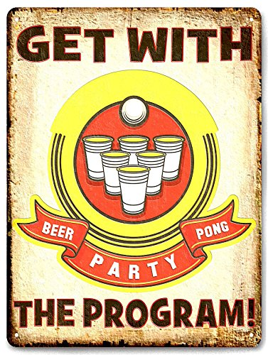 Beer Pong funny METAL sign college bar tavern gift vintage style wall decor ()