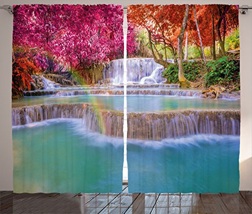 "Ambesonne Waterfall Curtains, Rain Forest in Vietnam Laos with South Pink and Orange Trees Side of River Image, Living Room Bedroom Window Drapes 2 Panel Set, 108"" X 84"", Pink"