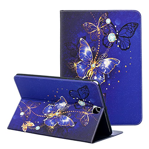 Galaxy Tab A SM-T550 Case, ZAOX Protective Slim Shockproof Leather Wallet Case with Card Slots Cute Cartoon Flip Stand Cover for Samsung Galaxy Tab A 9.7 Inch Tablet SM-T550/SM-P550 (Blue Butterfly)