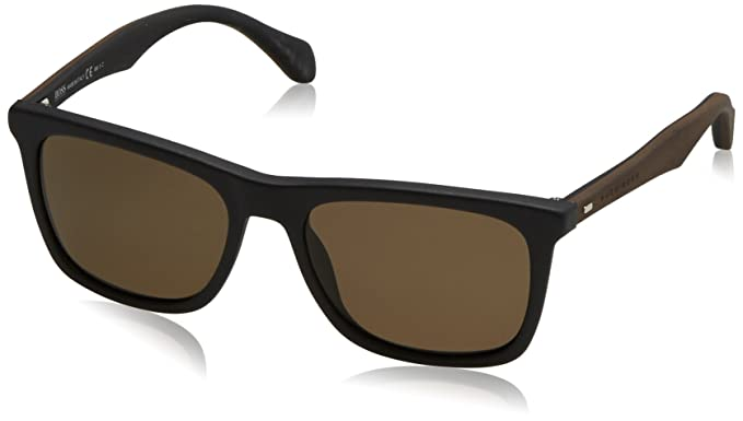 a5c8a202a9 Image Unavailable. Image not available for. Colour  Boss hub Boss 0776 S  0RAJ Black Dark Brown SP bronze polarized lens Sunglasses