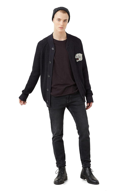 MANGO MAN - Decorative patch cardigan - Size:XL - Color:Black