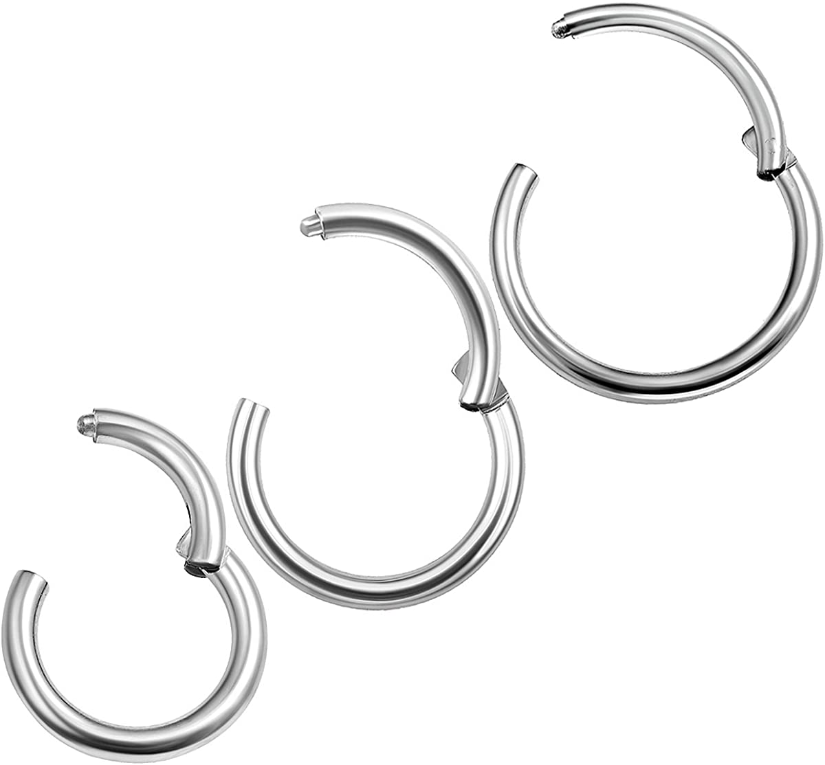 2Pcs Surgical Steel 14 Gauge 8mm 10mm Hinged Segmented Ring Piercing Jewelry Cartilage Helix Septum Tragus Nose M3129