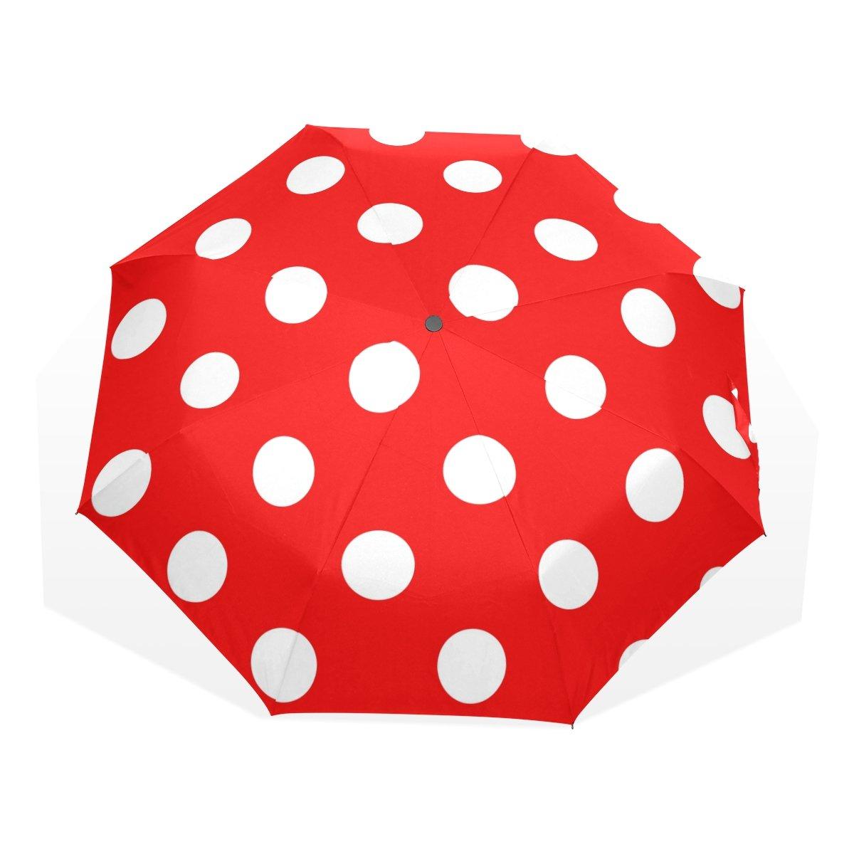 GUKENZ 水玉模様の赤い旅行用傘 軽量 紫外線対策 日傘 男女兼用 防風 折りたたみ式コンパクト傘   B07FY9VQ9P