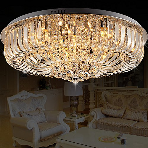 Modern Round Curved Crystal Flushmount Chandelier with Chrome Canopy Lighting Ceiling Light (Small) by Lovedima