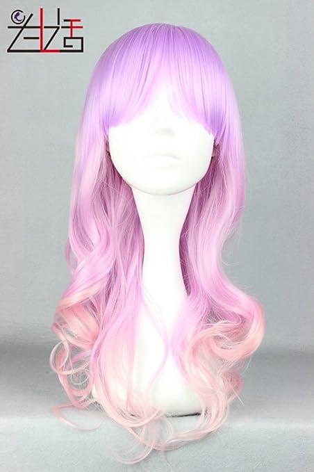Zxlife Peluca Japanese Wave Roll COS Peluca Rosa Claro Violeta 55Cm De Pelo Largo Y Rizado