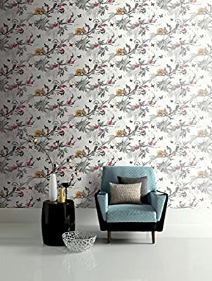 Arthouse, Mystical Forest White Multi Wallpaper, Birds And Plants Natural Home Décor