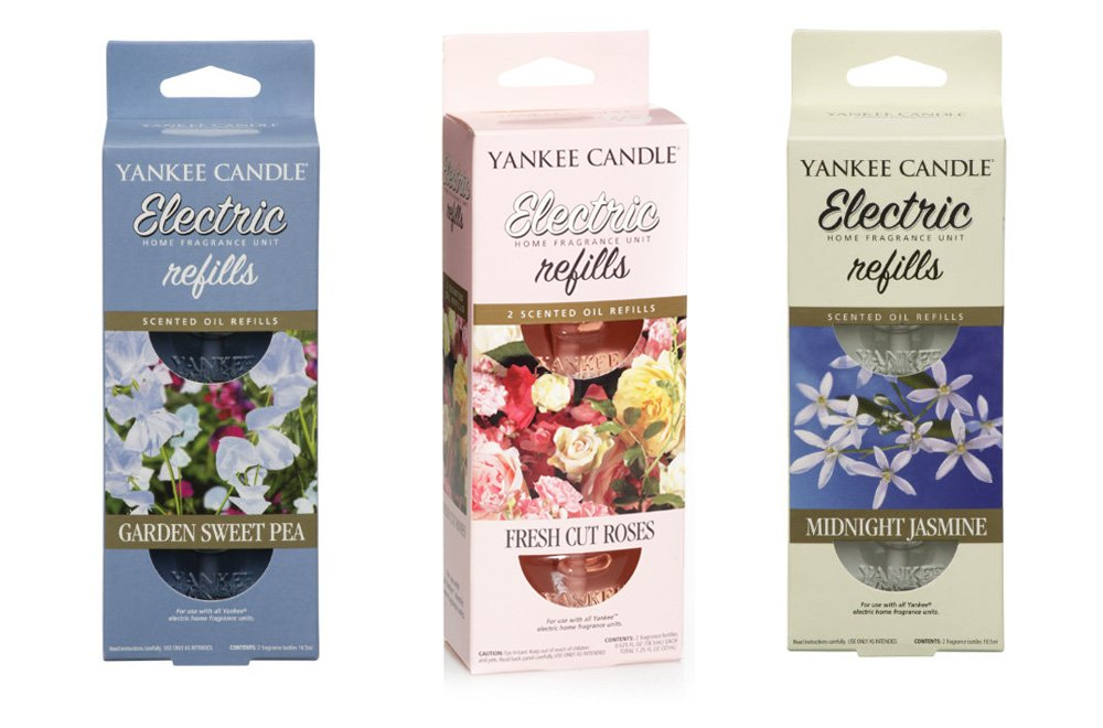 3 x YANKEE CANDLE Twin Packs Plug In (6 Refills) Air Freshener MIXED LOT (FLORAL (FLOWERS) - Garden Sweet Pea Fresh Cut Roses Midnight Jasmine) Cheshire Home Fragrance