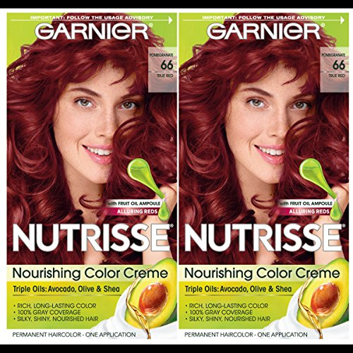 Garnier Hair Color Nutrisse Nourishing Creme, 66 True Red (Pomegranate), 2 Count (Best Red Hair Dye Brand)