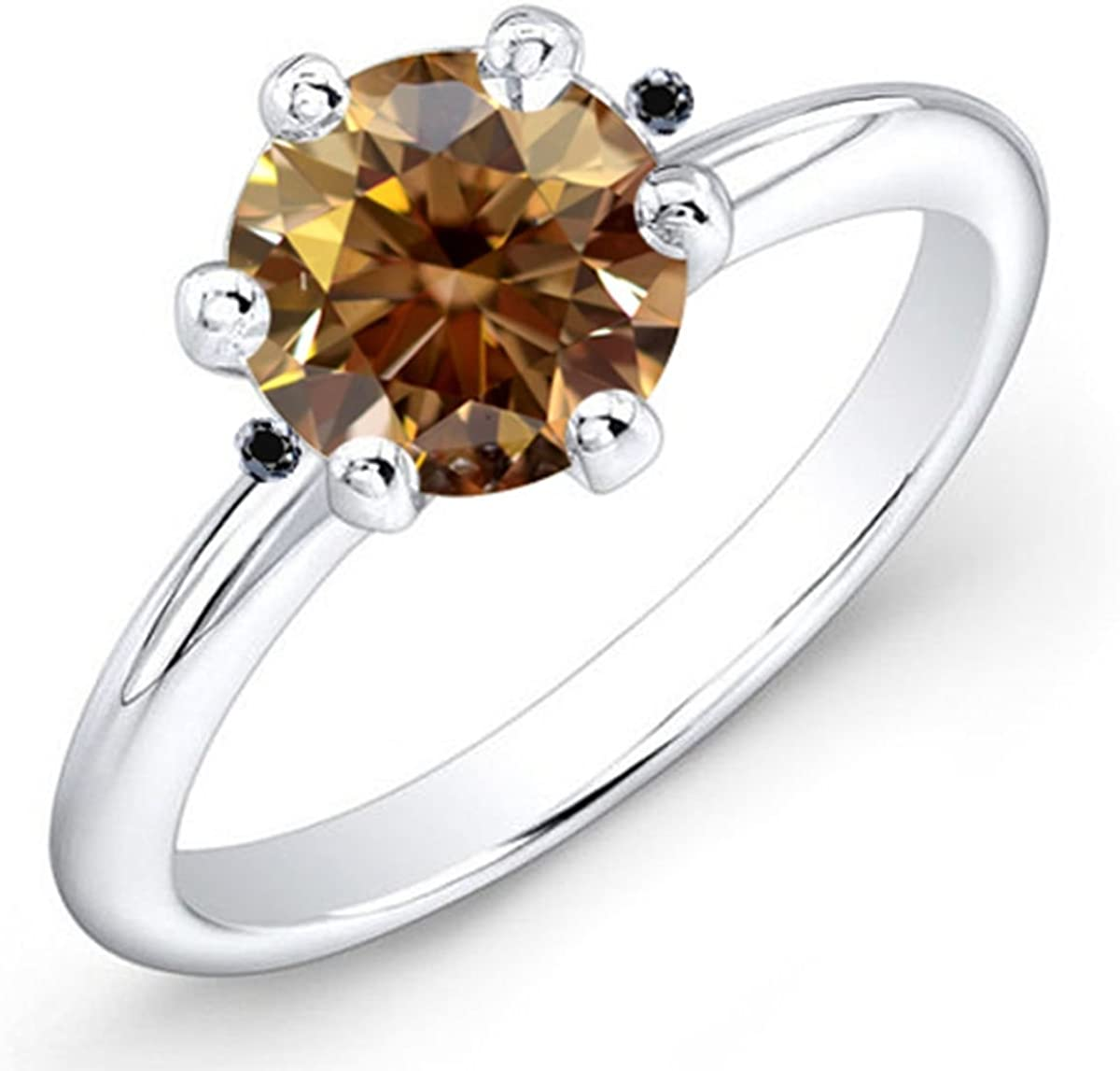 RINGJEWEL 3.33 ct Vs1 Round Real Moissanite Solitaire Engagement /& Wedding Ring white Brown Size 7