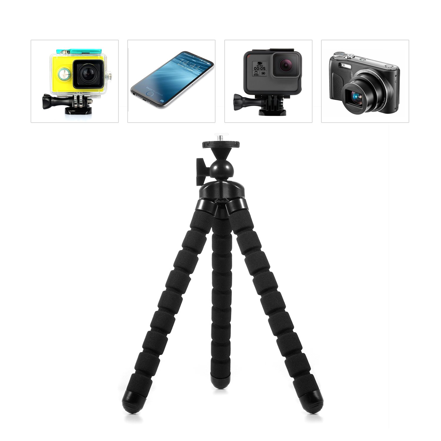 Kupton Octopus Tripod Style Portable and Adjustable Flexible Tripod Stand Holder Mount with Clip for GoPro iPhone /& Android Phone Camera