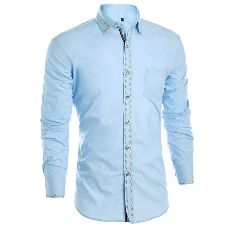 Mens Solid Slim Casual Wedding Shirt Business Long Sleeve Men Dress Blouses Tuxedo