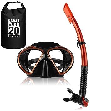 YouPei Máscara de Snorkel,Lente de Vidrio Templado, Semi-Dry Snorkel con una
