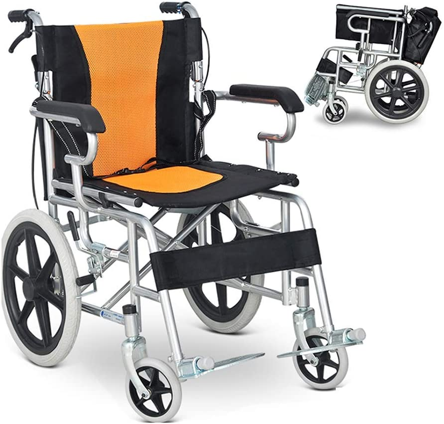 Driving Medical - Silla de Ruedas para Adultos Mayores con Rayas Amarillas, Silla de Ruedas Ultraligera con Pedal Antideslizante, Respaldo para Silla de Ruedas Médica Plegable con Bolsa de Almacenami