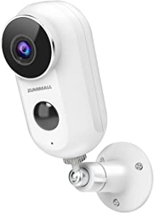 Wireless Security Camera Outdoor, ZUMIMALL 1080P HD Battery Powered WiFi Home Surveillance Camera Indoor with Night Vision, 2-Way Audio, PIR Motion Detection, Weatherproof and SD Card/Cloud Storage