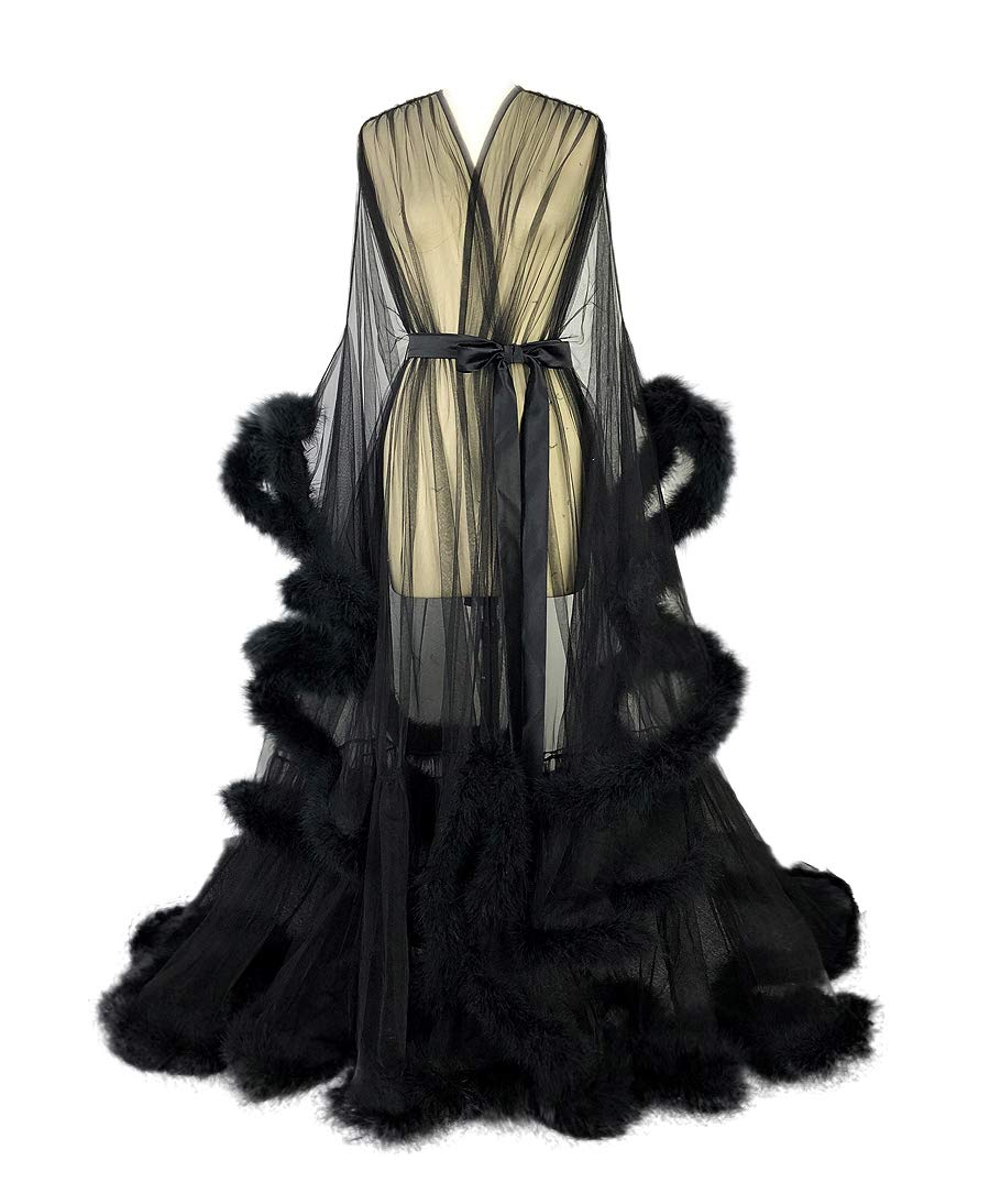 Old Hollywood Sexy Feather Bridal Robe Tulle Illusion Long Wedding Scarf New Custom Made (Black, M)