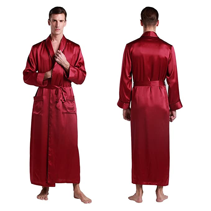 LilySilk 3pcs Silk Pajamas & Robe Set for Men 22 Momme Contra Full Length Lounge Wear Soft at Amazon Mens Clothing store: