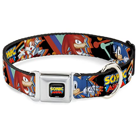 Buckle Down Seatbelt Buckle Dog Collar - Sonic Mania Sonic/Tails/Knuckles Pose Black