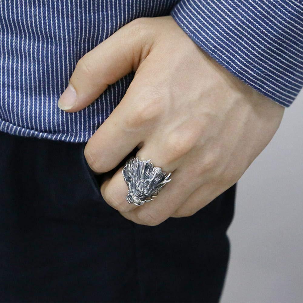 Weiwei Men Ring Rings S925 Sterling Silver Fashion Men Retro Thai Silver Dragon Domineering Ring Friends Birthday Graduation Gift