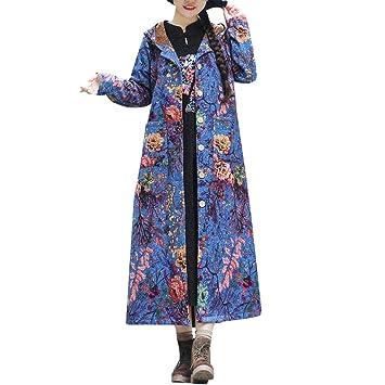 Mujer Invierno Cálido Algodón Lino Botones Estampados Bolsillos Abrigo Ropa  Interior LILICAT❣ Edredón de algodón con Capucha de algodón Estampado  Capucha ... e407cd5f18b1