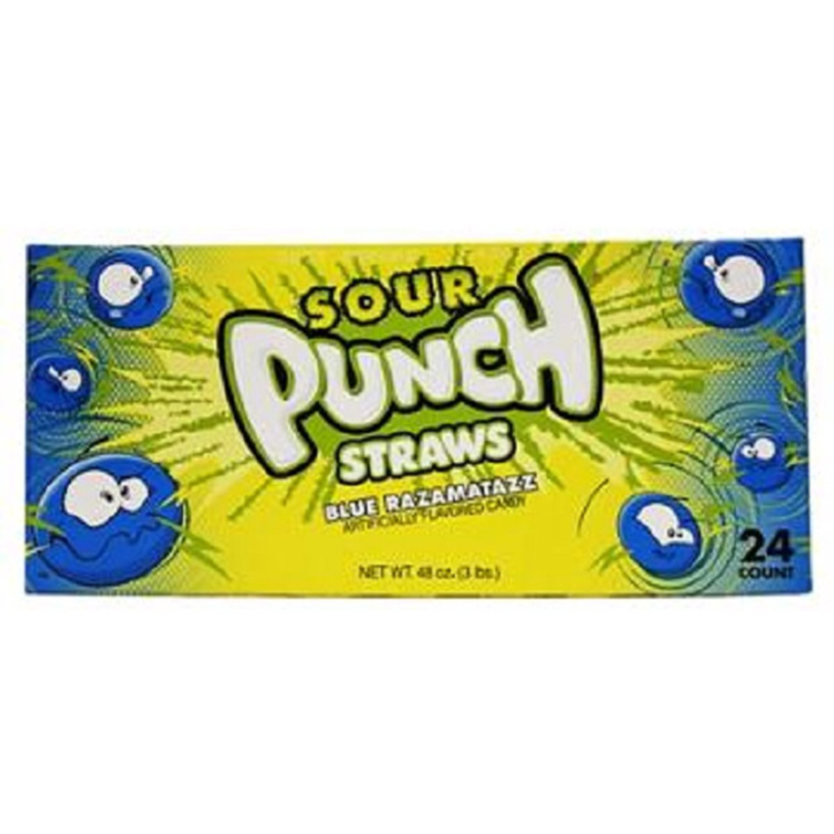 Product Of Sour Punch Straws, Blue Razamatazz, Count 24 (2 oz) - Sugar Candy / Grab Varieties & Flavors by Product Of Sour Punch Straws