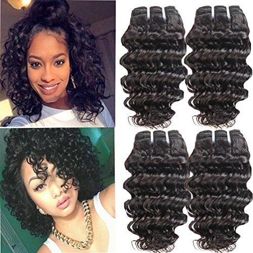 Brazilian Deep Wave 4 Bundles 8inch Short Deep Curly Hair 50