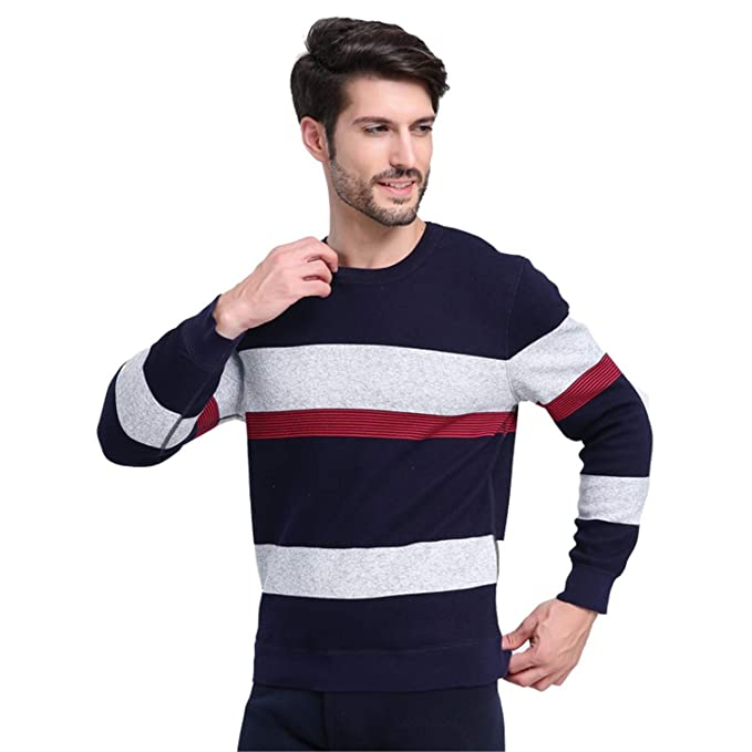 Ropa Interior térmica para Hombres Cuello Redondo Franja Espesar Mantener cálido Traje de algodón de Gran