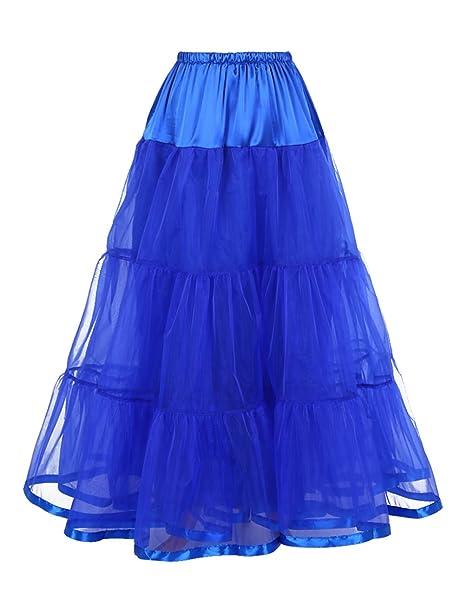 Dresstells Hasta el Tobillo Enagua de Crinolina Enagua Debajo Falda de Crinolina para Vestido de Boda Azul Real L-XL: Amazon.es: Ropa y accesorios