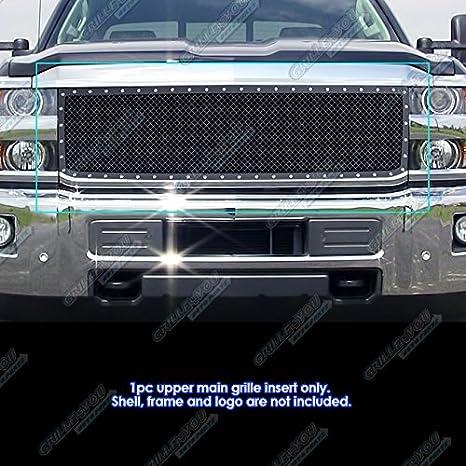 APS Compatible with 15-19 Chevy Silverado 2500HD 3500HD Steel Black Mesh Rivet Stud Grile CL6333K