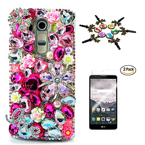 STENES LG Stylo 2 V Case - 3D Handmade Crystal Sparkle Diamond Rhinestone Cover For LG G Stylo 2 /G Stylo 2 Plus/Stylo 2 V With Screen Protector & Anti Dust Plug - Snow Flowers Heart LOVE/Hot Pink