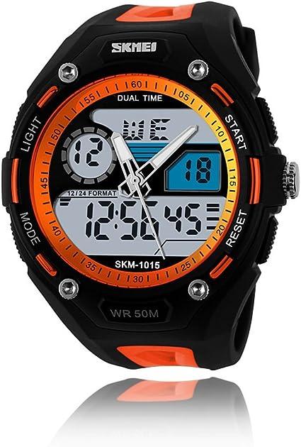 Skmei - Reloj de pulsera analógico y digital, sumergible hasta una presión de 5 ATM, para buceo, uso militar, multifunción, para hombre: Amazon.es: Relojes