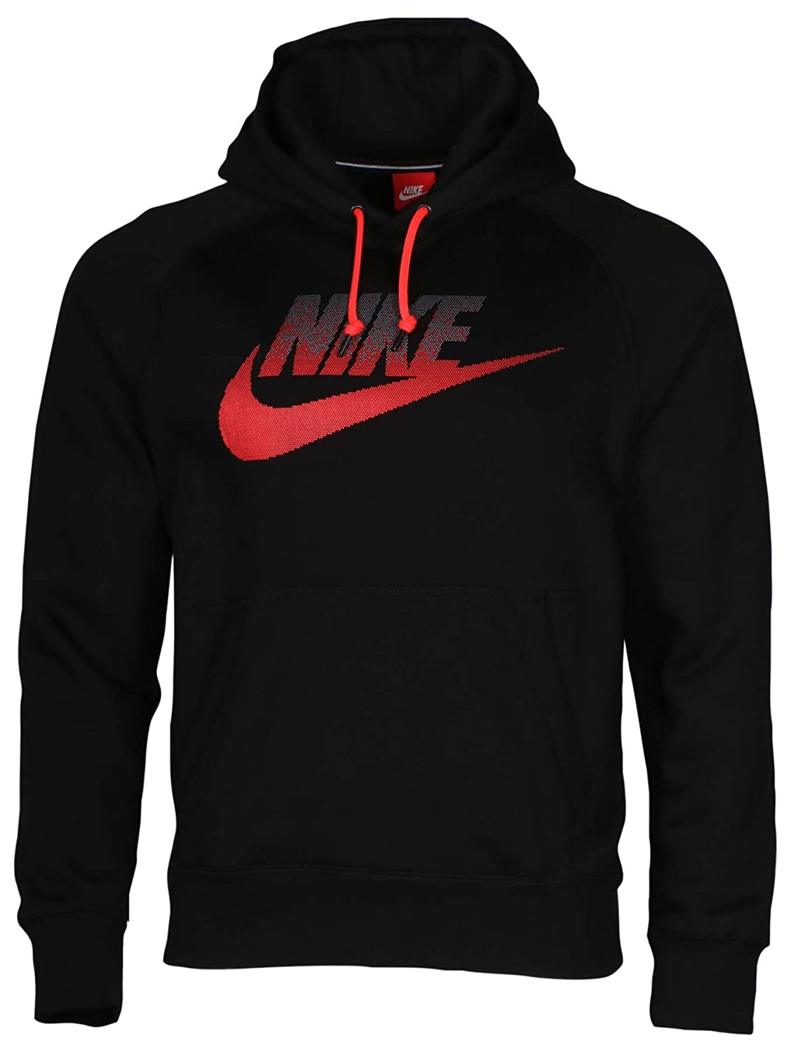 1a1c7985f8ac Amazon.com  Nike Men s AW77 Futura Fleece Pullover Hoodie-Black Red-Medium   Clothing