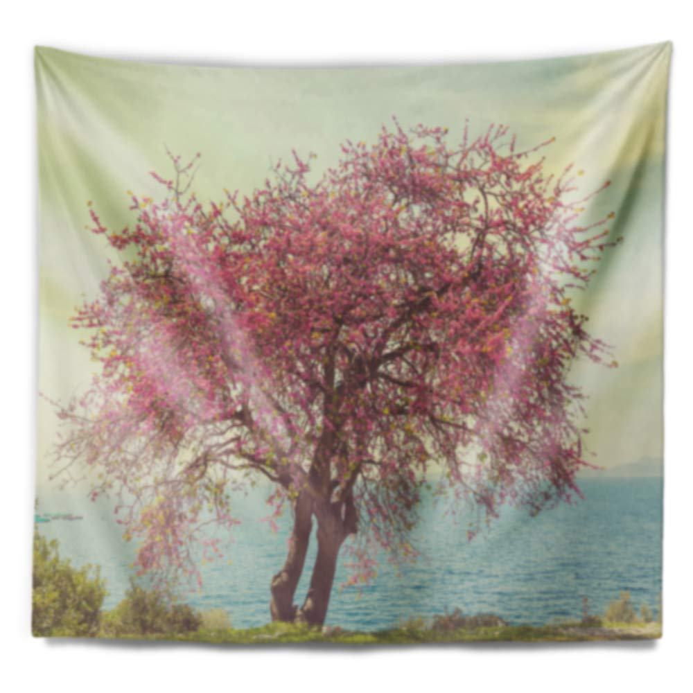 Designart TAP12687-80-68 Pink Flowers on Lonely Tree Landscape Tapestry Blanket D/écor Wall Art for Home and Office x Large: 80 in Created on Lightweight Polyester Fabric x 68 in