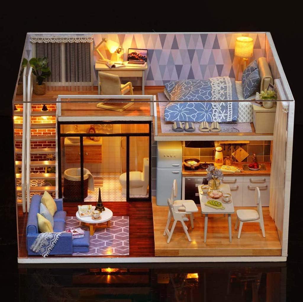 Anyren 3D木製ドールハウス家具DIYミニチュアモデルおもちゃ 女の子男の子用 25x21x16cm Anyren