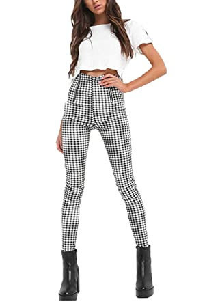 8bee257df1b290 Tomblin Women's High Waist Plaid Zipper Leggings Pants Skinny Stretchy Slim  Fit Pencil Pants Trousers (