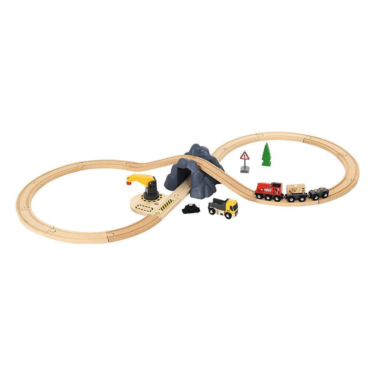 Brio Ferrovia a Forma di 8 Set di Carico in Scatola di Plastica 26 Pezzi, Ferrovia di Legno, Giocattolo, Legno   Plastica, 103.7 cm, 33913