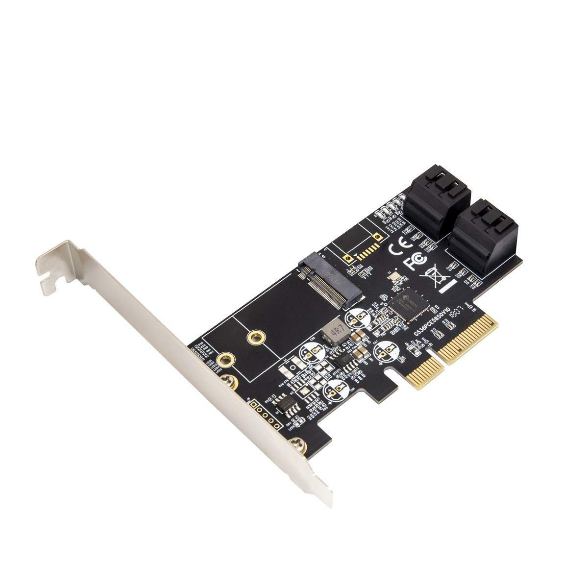 IO CREST SI-PEX40138 Internal 4 Port Non-Raid SATA III 6GB/S with M.2 B-Key 22x42 Pci-E X4 Controller Card for Desktop PC Support SSD and HDD with Low Profile Bracket. JMB585 Chipset