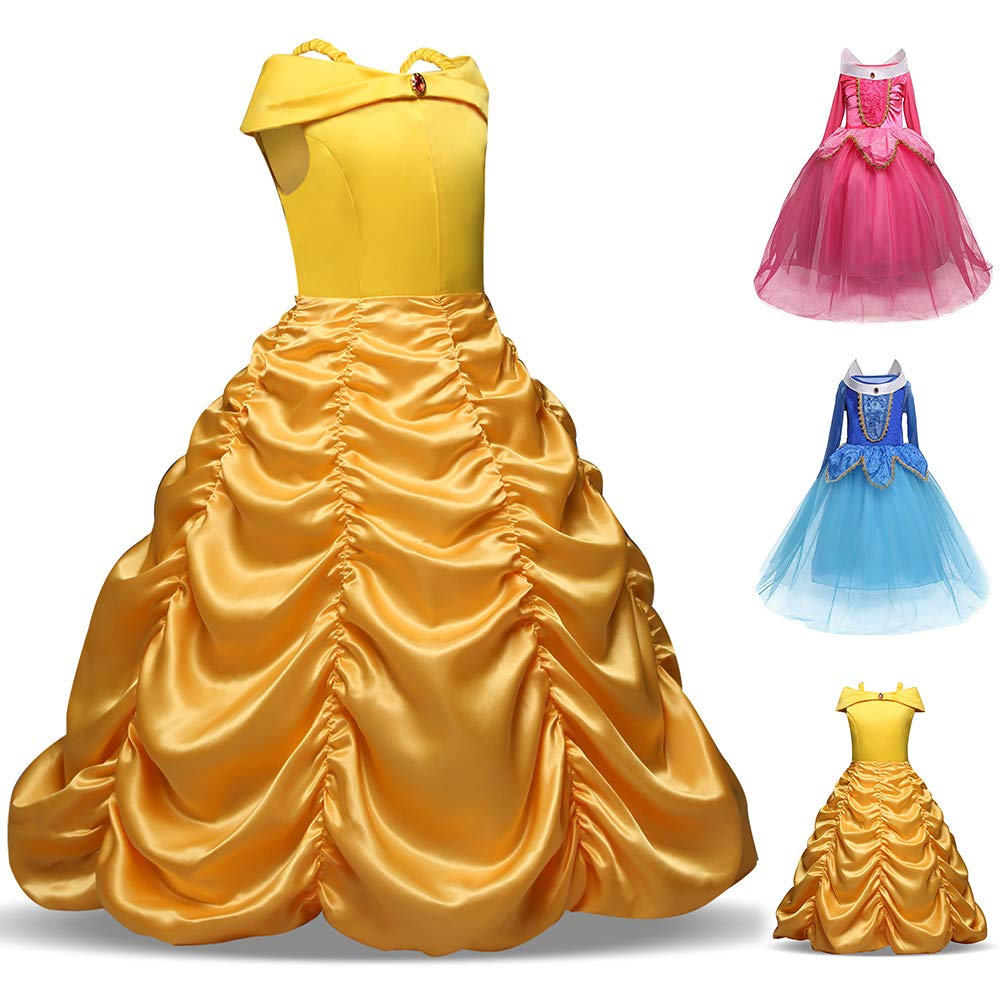 disfraces de princesa Disfraz de Bella para ni/ñas para Halloween para ni/ñas de 4-9 a/ños 8-9 a/ños 2#