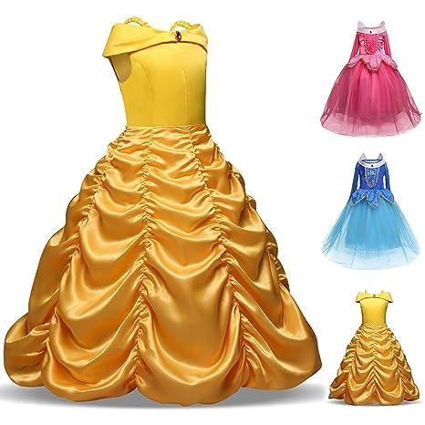 vap26 Disfraz de Princesa Bella para niñas de la Bella y la Bestia ...