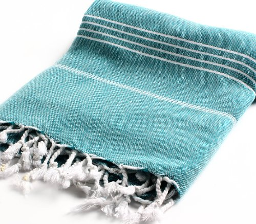 Cacala 100% Cotton Pestemal Turkish Bath Towel, 37 x 70, Aqua
