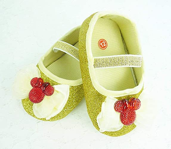 dd00c122214b3 Amazon.com: Baby Shoes, Gold Glitter Minnie Mouse Inspired Walkers ...