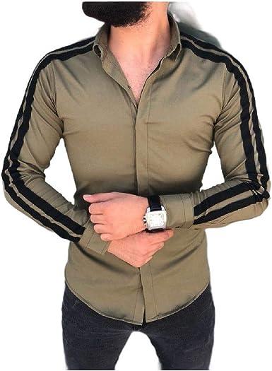 WAWAYA Men Business Long Sleeve Print Regular Fit Lapel Button Down Dress Work Shirt