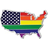 PinMart's Gay Pride USA Shape Flag LGBT Enamel Lapel Pin