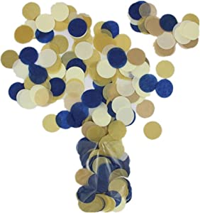Mybbshower Navy Gold Paper Circle Wedding Confetti for Bridal Shower Engagement Decoration Table Scatter Pack of 2800